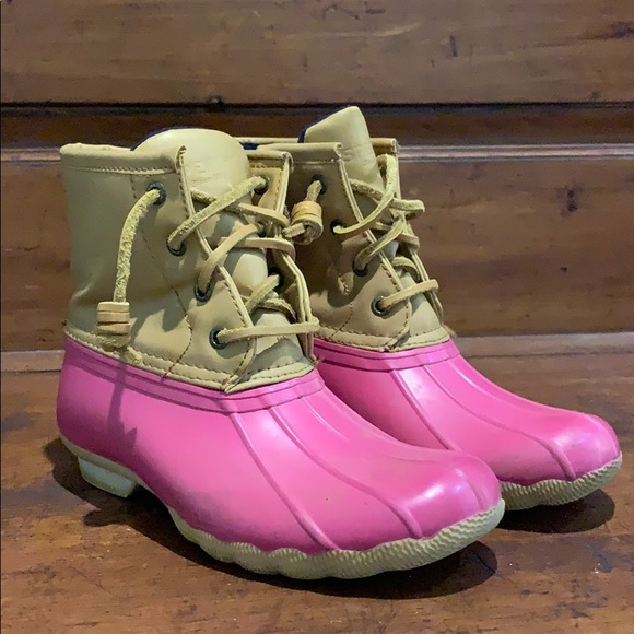 Pink and Tan Sperry Top-sider duck boots